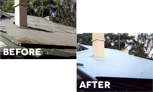 Before and after a Modern steel roof restoration